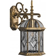 Светильник садово-парковый PL131 шестигранный на стену вниз 60W E27 230V, черное золото 11335