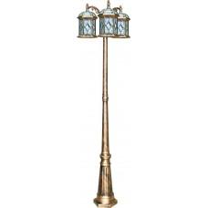 Светильник садово-парковый PL178 столб шестигранный 3*60W E27 230V, черное золото 11342