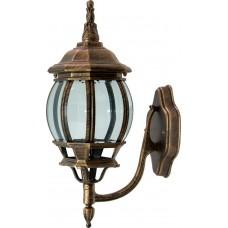 Светильник садово-парковый 8101 восьмигранный на стену вверх 100W E27 230V, черное золото 11244