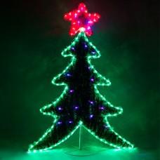 Световая фигура 230V, каркас - дюралайт 8м 24 LED/м (зеленый+красный), внутри - хвоя с гирляндой 20LED стробы (красный+синий), шнур 1,5м IP44, 111*87 см, LT061