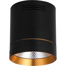 Светодиодный светильник AL521 накладной 20W 4000K черный с золотым кольцом