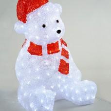 Белый медведь в красном колпаке и шарфе 200 Led, 57 см (KAEMINGK)
