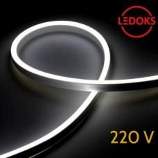 Тонкий гибкий неон белый холодный 220В, 8Вт, 120LED