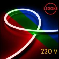 Тонкий гибкий неон RGB 220В, 8Вт, 120LED