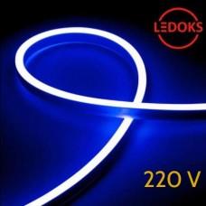 Тонкий гибкий неон синий 220В, 8Вт, 120LED