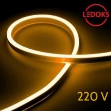 Тонкий гибкий неон желтый 220 В, 8 Вт, 120 LED